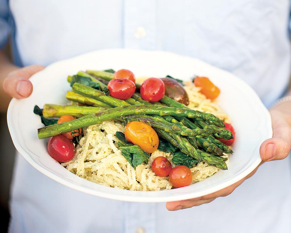 Recept nötig pasta med grillade grönsaker