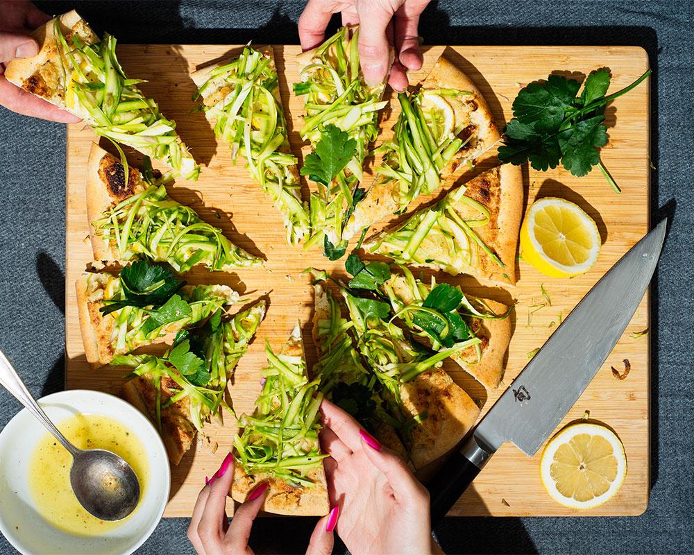 Recept sparris- och citronpizza